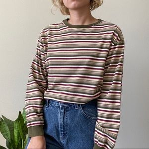Fall colors striped long sleeve shirt
